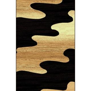 Modern Beige Black Brown Inkblot Power Loomed Area Rug (8' x 11')