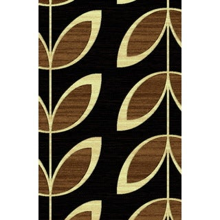 Brown/Black Polypropylene Leaf and Branches Power-loomed Area Rug (7'11 x 10'6)