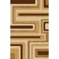 Modern Beige/White/Brown Polypropylene Abstract Power-loomed Area Rug - 8' x 11'