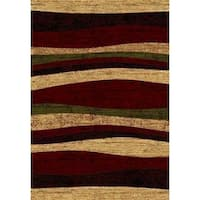 Abstract Beige/White/Brown Polypropylene Power-loomed Area Rug - 8' x 11'
