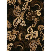 Contemporary Beige/Black/Brown Polypropylene Abstract Lines Power-loomed Area Rug - 8' x 11'
