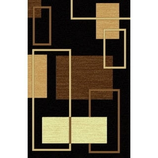 Contemporary 3D Squares Power Loomed Area Rug Beige Black Brown (8' x 11')