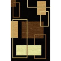 Contemporary 3D Squares Power Loomed Area Rug Beige Black Brown (7'11 x 10'6) - 8' x 11'