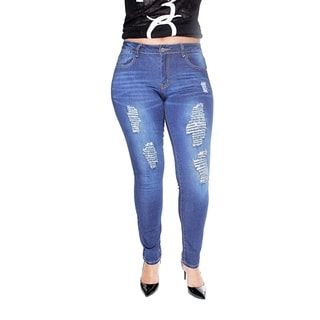 Juniors' Plus Stretch Skinny Blue Jeans with Rips and Tears