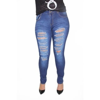 Juniors' Plus Distressed Rips and Tears Skinny Jeans