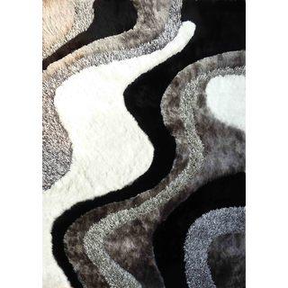 Shaggy Viscose Vibrant Wavy Hand Tufted Shag Area Rug Silver Gray White Black (8'x11')
