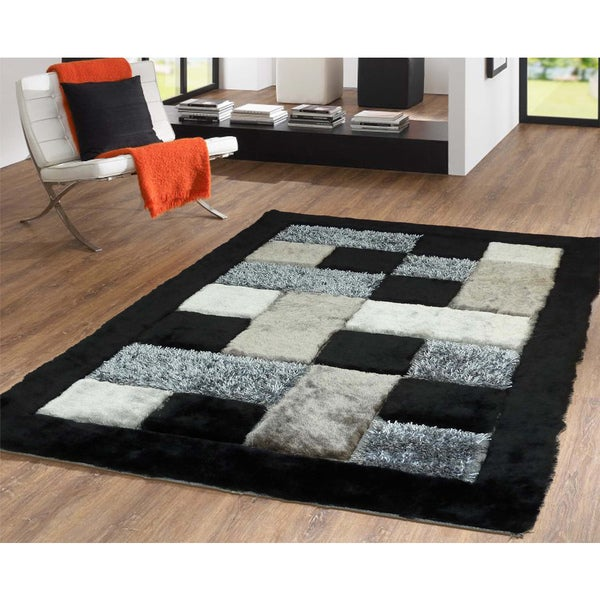 Checked Black Grey Rug: Shop Shaggy Viscose Checkered Design Hand Tufted Shag Area