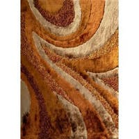 Shaggy Viscose Vibrant Swirl Design Hand Tufted Shag Area Rug Brown Wheat Beige - 8' x 11'