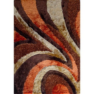 Shaggy Viscose Vibrant Swirl Design Hand Tufted Shag Area Rug Orange Brown Beige (7'6x10'3)