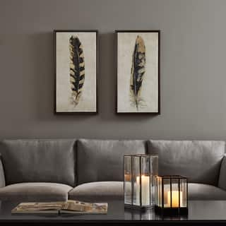 Urban Habitat Gilded Feathers Yellow Printed Canvas With Gold Foil 2 Piece Set|https://ak1.ostkcdn.com/images/products/12727792/P19507335.jpg?impolicy=medium