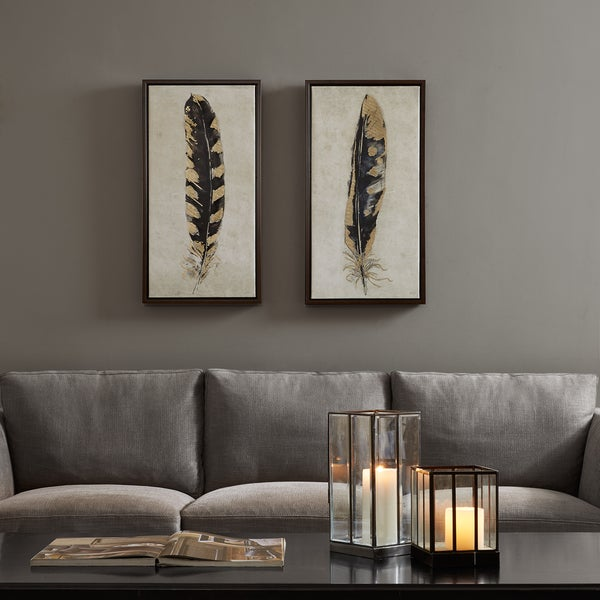 Exceptionnel Urban Habitat Gilded Feathers Yellow Printed Canvas With Gold Foil 2 Piece  Set