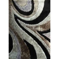 Shaggy Viscose Vibrant Swirl Design Hand Tufted Shag Area Rug Gray Black Silver - 8' x 11'