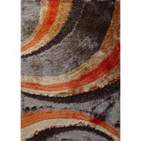 Shaggy Viscose Vibrant Swirl Design Hand Tufted Shag Area Rug Orange Brown Beige - 8' x 11'