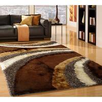 Shaggy Viscose Vibrant Swirl Design Tufted Shag Area Rug Brown Wheat Beige - 8' x 11'