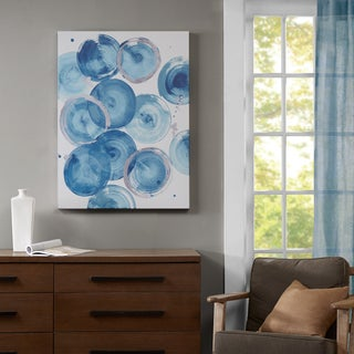 Madison Park Cerulean Circles Blue Heavy Rolled Gel Coat Canvas