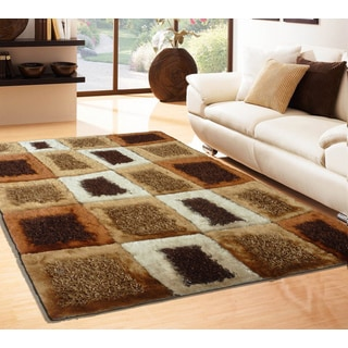 Shaggy Viscose Vibrant Swirl Design Tufted Shag Area Rug Brown Wheat Beige (7'6x10'3)