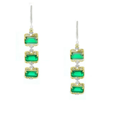 One-of-a-kind Michael Valitutti Emerald Green Quartz and White Sapphire Dangling Earrings