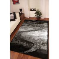 Shaggy Viscose Vibrant Gradient Pattern Hand Tufted Shag Area Rug Black Gray Silver - 8' x 11'