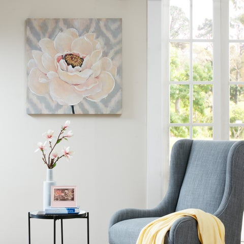 Madison Park 'Inspired Blossoms' Coral Hand-embellished Canvas