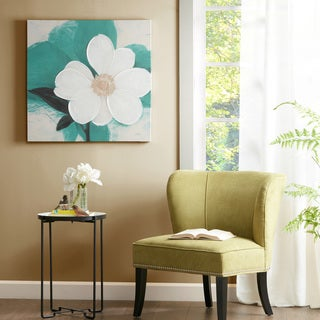 Madison Park 'Midday Bloom' Teal Hand-embellished Canvas