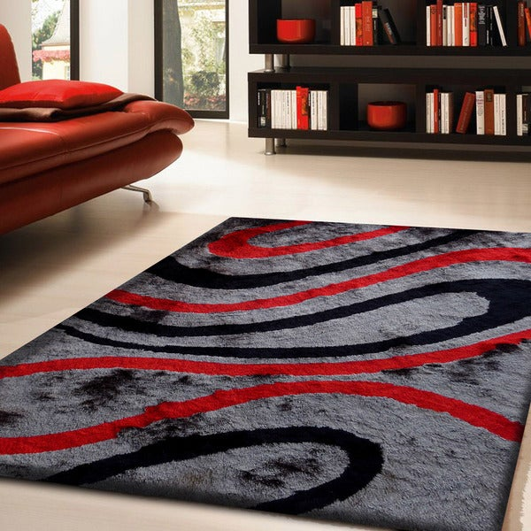 Shop Shaggy Viscose Vibrant Ribbon Hand Tufted Shag Area Rug Red