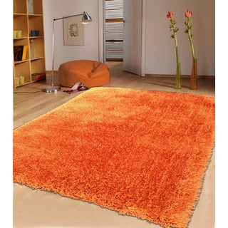 Modern Shaggy Rug Runner Featuring a Vibrant Color of Rust (2'x7'5)