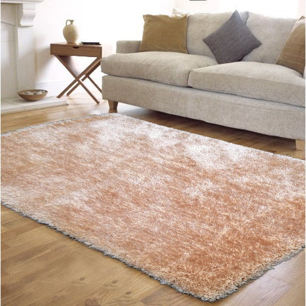 "Extremely Soft Shaggy Rug Runner Brimming with a Vibrant Shade of Beige (2' x 7'5"")"
