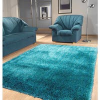 """Modern Shaggy Rug Runner Featuring a Vibrant Shade of Turquoise - 2' x 7'5"""""""