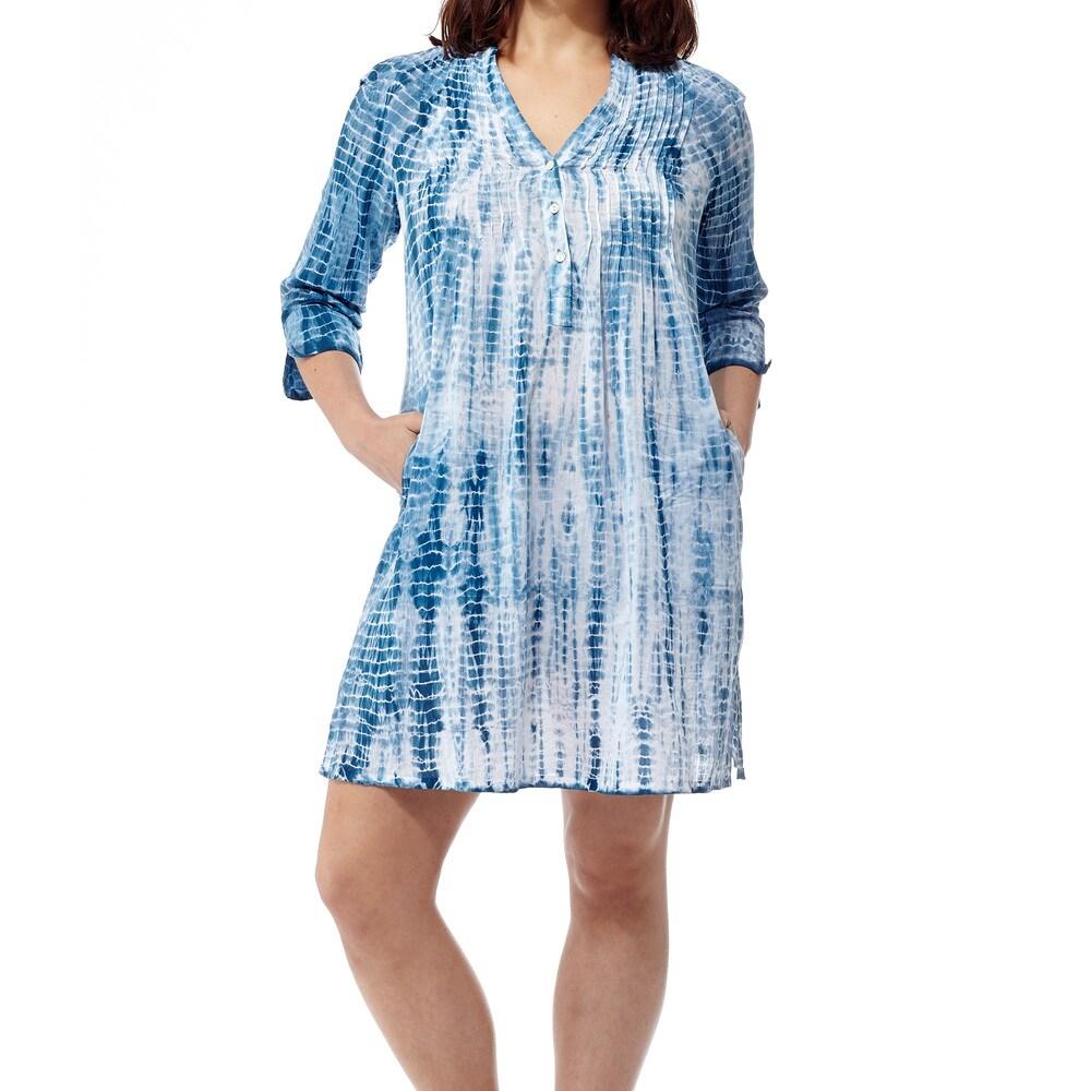La Cera Womens Multicolor Cotton Tie-dyed Short Dress