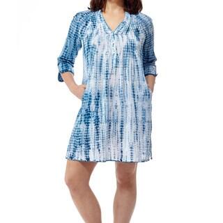La Cera Women's Multicolor Cotton Tie-dyed Short Dress