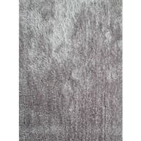 Vibrant Shaggy Area Rug Featuring a Elegant Shade of Silver - 8' x 10'