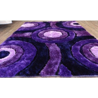 "Extremely Soft Shaggy Rug Runner Brimming with a Colorful Shade of Lavender (2' x 7'5"")"
