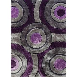 Elegant Shaggy Rug Runner Featuring Bold Shades of Gray Silver and Purple (2'x7'5)