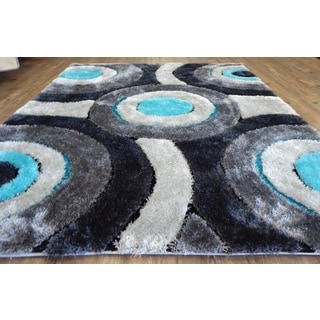Beautiful Shaggy Rug Runner Featuring Colorful Shades of Gray Silver and Turquoise (2'x7'5) - 2' x 7'5""
