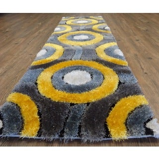 Cheerful Soft Shaggy Rug Runner Featuring Vibrant Shades of Gray Silver and Yellow (2' x 7'5)