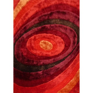 "Vibrant Shaggy Rug Runner Featuring Elegant Shades of Crimson Red Brown and Red (2' x 7'5"")"