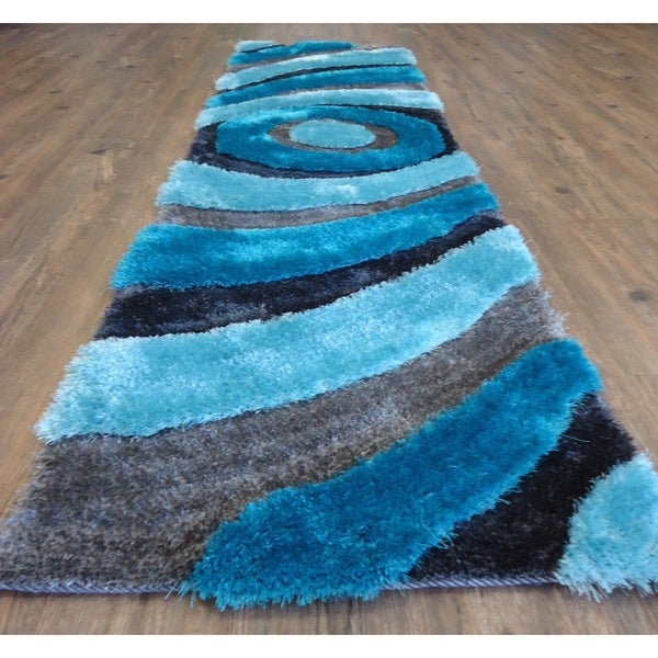 "Eye Catching Shaggy Rug Runner Featuring Vibrant Shades of Gray and Turquoise (2' x 7'5"")"