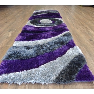 Elegant Shaggy Rug Runner Featuring Dazzling Shades of Gray Silver and Purple (2'x7'5)