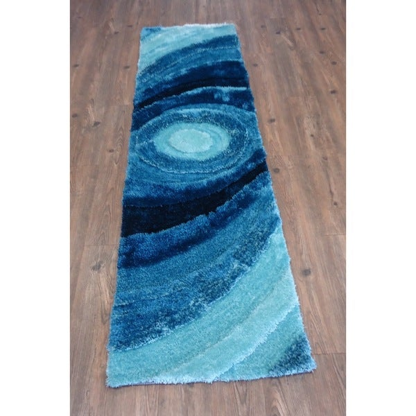 Beautiful Shaggy Rug Runner Featuring Colorful Shades of Turquoise - 2' x 7'5""