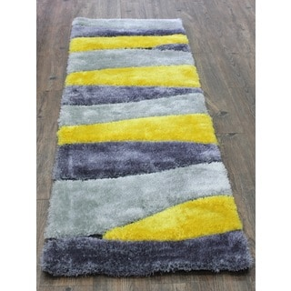 Dazzling Shaggy Area Rug Runner Featuring Vibrant Shades of Yellow Silver and Gray (2'x7'5)
