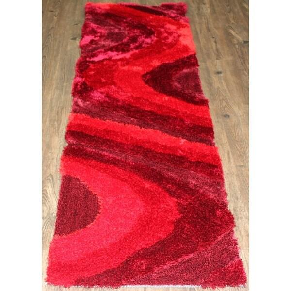 "Vibrant Shaggy Rug Runner Featuring Elegant Shades of Crimson Red - 2' x 7'5"""