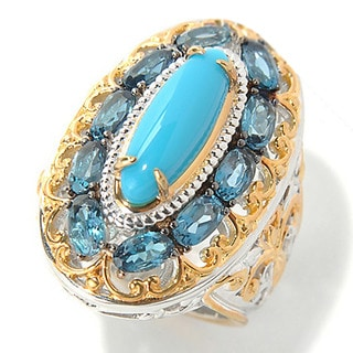 One-of-a-kind Michael Valitutti Sleeping Beauty Turquoise with London Blue Topaz Halo Ring