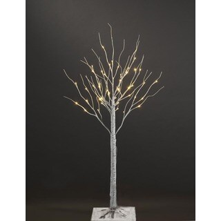 LED 3 ft. White Artificial Birch Christmas Tree with 36 Warm White Lights