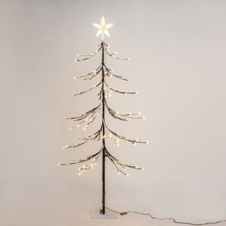 Patch Magic 5 ft. LED Brown Artificial Fir Lighted Christmas Tree with 144 LEDs