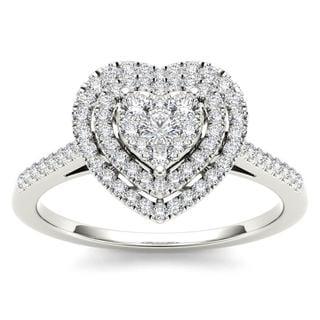 De Couer 10k White Gold 1/3ct TDW Diamond Cluster Heart-Shaped Frame Engagement Ring - White H-I