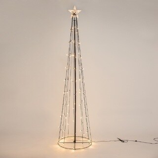 Patch Magic 8 ft. Lighted LED String Light Cone Tree with 130 LEDs