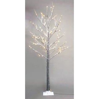 Patch Magic 7 ft. Brown Artificial Birch Snow Lighted Christmas Tree with 120 LEDs