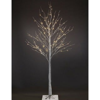 Patch Magic 7 ft. LED Lighted White Artificial Birch Christmas Tree with 120 LEDs