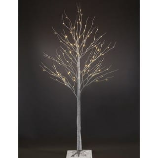 Led Lighted White Artificial Birch Christmas Tree With 120 Leds