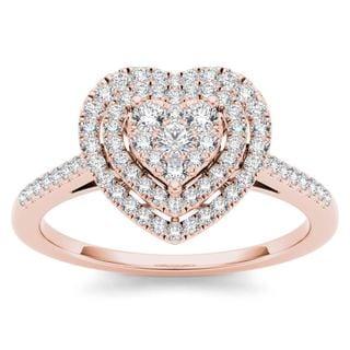 De Couer 10k Rose Gold 1/3ct TDW Diamond Cluster Heart-Shaped Frame Engagement Ring (H-I,I2)